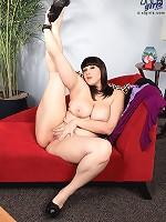 women rubbing stuff on her boobs